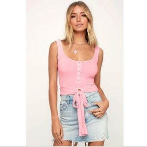 CHIANA PINK RIBBED BUTTON DOWN TIE-FRONT TANK TOP